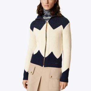 Tory Burch Hannah Chevron Zip Up Cardigan Sweater